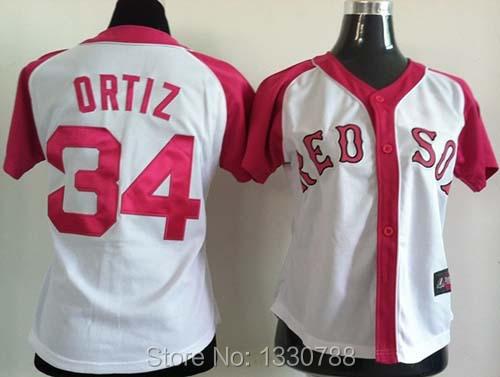 Boston Red Sox Womens Jersey White Pink 100% Stitched #34 David Ortiz Womens Baseball Jerseys Shirt New Arrival