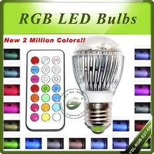 Free Shipping New Hot 2 Million Colors 6W+ E27 RGB LED Light  With Remote Control(China (Mainland))