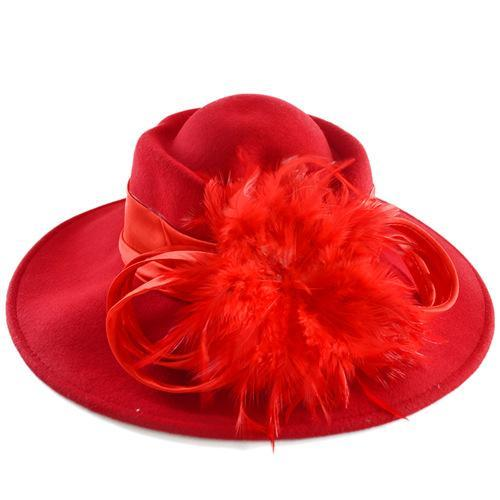 Elegant Design Feather Hats Steeo Flower Decoration Wide Brim Hats Wool/Polyester Material Best Dress Hats for Women 029M(China (Mainland))