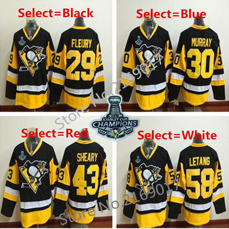 PittsburghS Penguins #30 Matthew Murray Mens 1992 Throwback Winter Classic CCM 2016 Stanley Cup Champions Patch Hockey Jersey(China (Mainland))