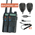 2x Baofeng UV 8HX MarkIII VHF UHF Dual Band Ham Radio Walkie Talkie Two way Radio