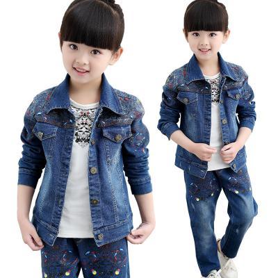 Autumn Spring Girls Clothes Jacket Zipper Kids Jacket+t-shirt +pants Kids Tracksuit For Girls Clothing Sets Girls Suit 3colors