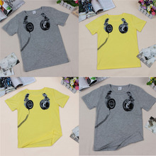 Boys Kids Summer T-shirt Baby Boy Clothes Headphones Printed Tops Tees Children Clothing Boys Cotton Casual Blouses T-shirt