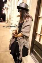 Good texture thick rough edges fringed oversized knit knitting wool scarves large shawl MX14 triangle