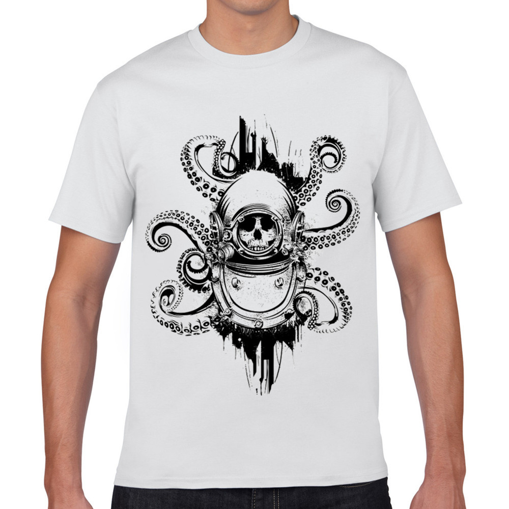 white funny t shirt cartoon for men 3d homme the octopus print for man 2016 fashion cool tops. Black Bedroom Furniture Sets. Home Design Ideas