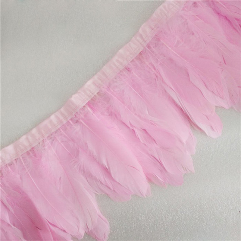 Woosee 1yards Pink Goose Feather Trims Dyed Goose Feather Ribbons 15-20cm Duck Feather Fringes Carnival Ornaments