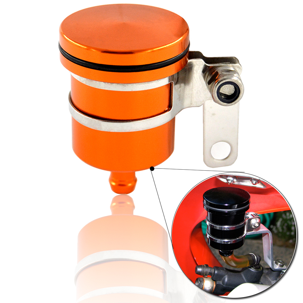 CNC Universal Orange Aluminum Motorcycle Scooter Brake Fluid Reservoir Oil Cup Front Brake Clutch Sport Street Dirt Bike(China (Mainland))