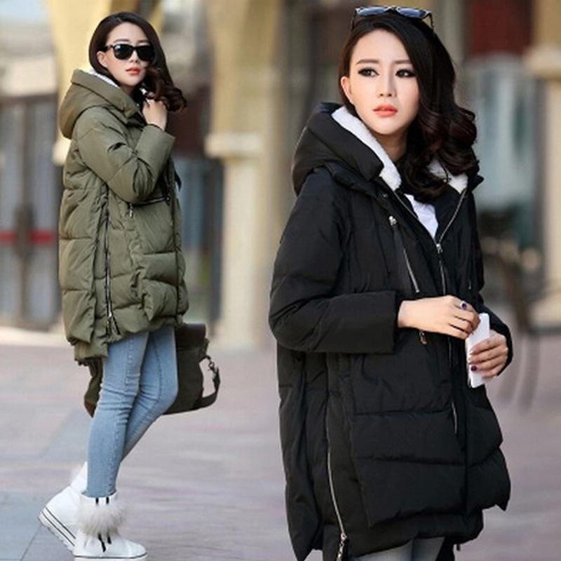 2015 Wadded winter jacket women red female medium-long plus size 3XL lady thickening casual down wadded winter coat women parka(China (Mainland))