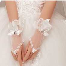 Crystal Bow Tulle Short Design White Fingerless Gloves