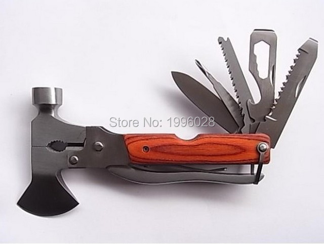 Hatchet emergency safety hammer multifunction Axe stainless steel rescue weapon Outdoor Survival multi tools pliers knife(China (Mainland))