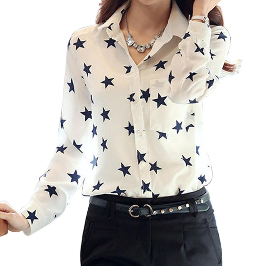 2016 new autumn Woman Summer Lapel Long Sleeve collared shirt Printing Chiffon Shirts Tops