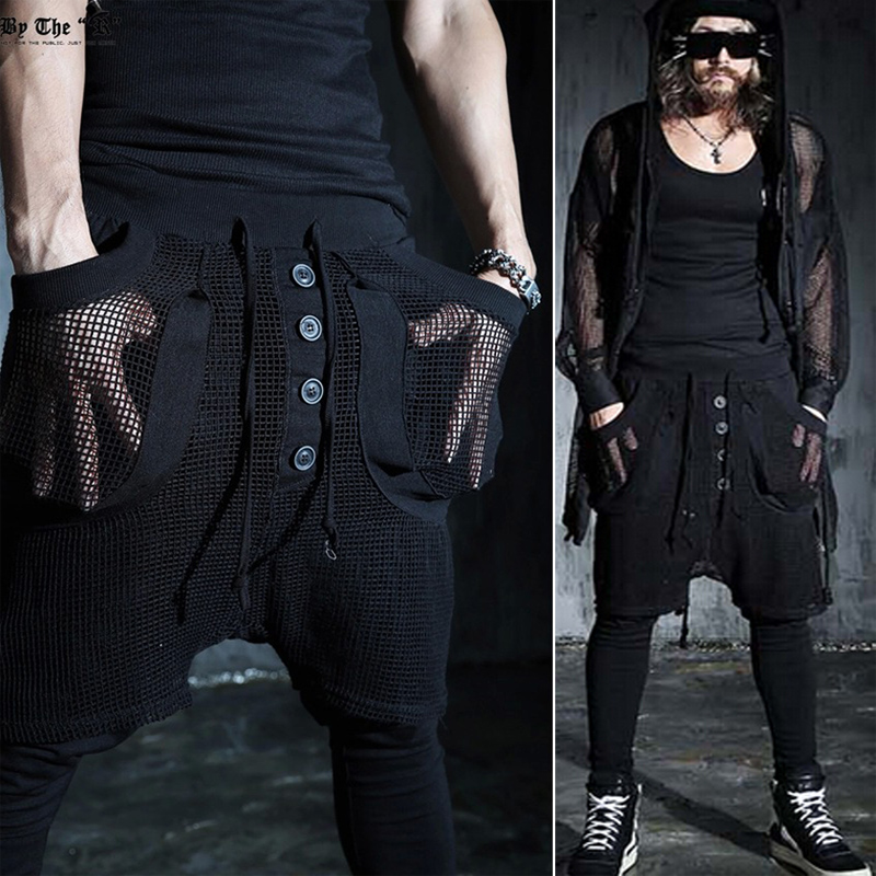 Trendy Avant Garde Men's Harem Pocket Layered Diagonal Perspective Mesh Black Culottes Pants Men's Japanese Drop Crotch Trousers(China (Mainland))