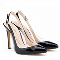 Sexy Pointy Toe Patent Leather Stitching Transparent PVC 11 CM Thin High Heeled Women Pumps Shoes