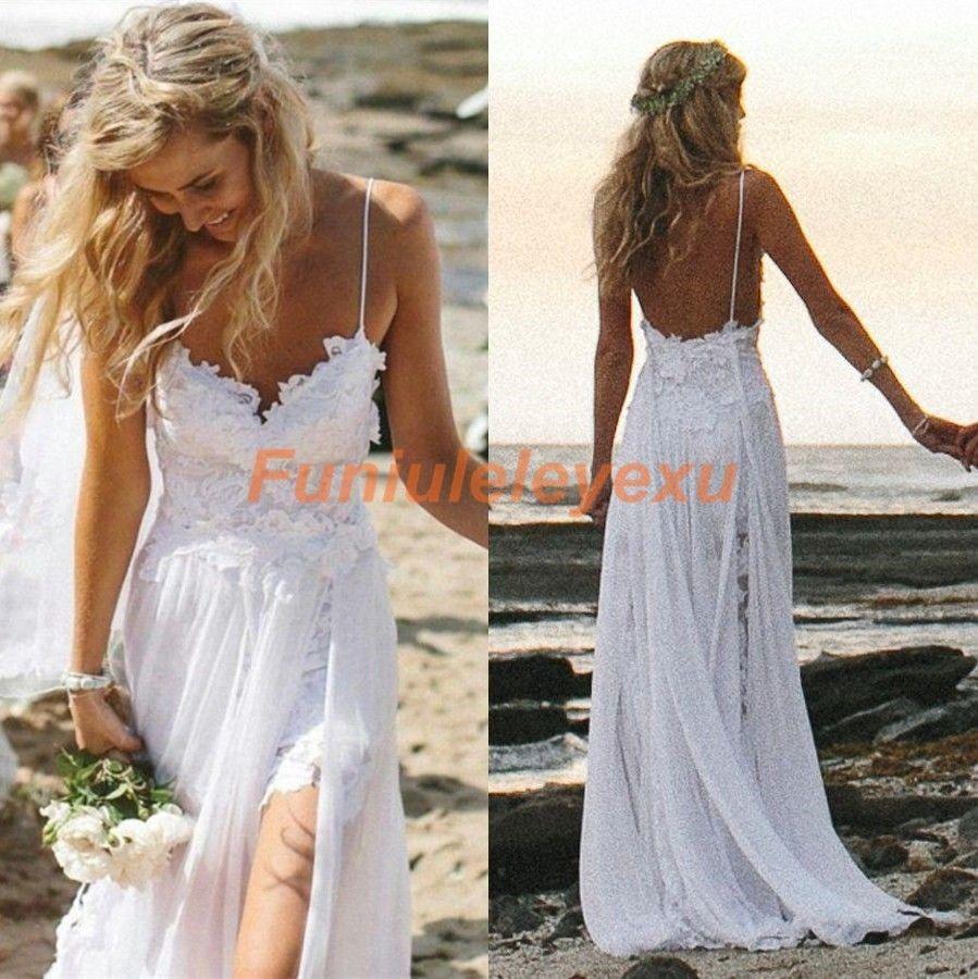 Sexy 2015 New Spaghetti Backless Beach Wedding Dresses Summer High Low Lace Chiffon Bridal Gowns White Ivory Size 2 4 6 8 10 12+(China (Mainland))