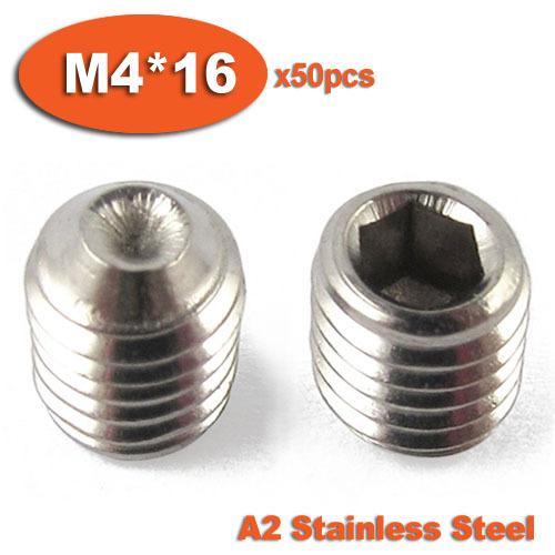 50pcs DIN916 M4 x 16 A2 Stainless Steel Screw Cup Point Hexagon Hex Socket Set Screws<br><br>Aliexpress