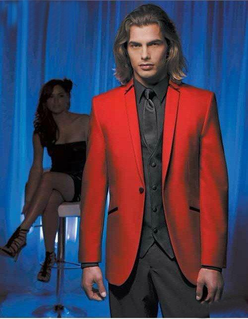 Fashion Red Mens Suits Notched Lapel Tuxedos For Men Wedding Suits For Men One Button Grooms Suits (jacket+pants+vest+tie)