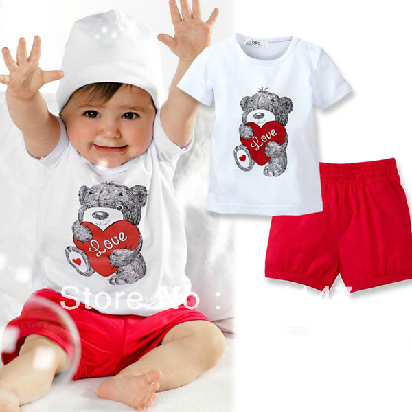 New Baby Kids 2 PCS Tops+Pants Heart Bear Pattern Outfits Set Clothes 0-3 Year  drop freeshipping<br><br>Aliexpress