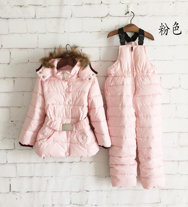 Children Winter Clothing Set kids Ski Suit Windproof Down Coat Solid Warm Coats Fur Jackets+Bib Pants 4Colors 2pcs/set(China (Mainland))