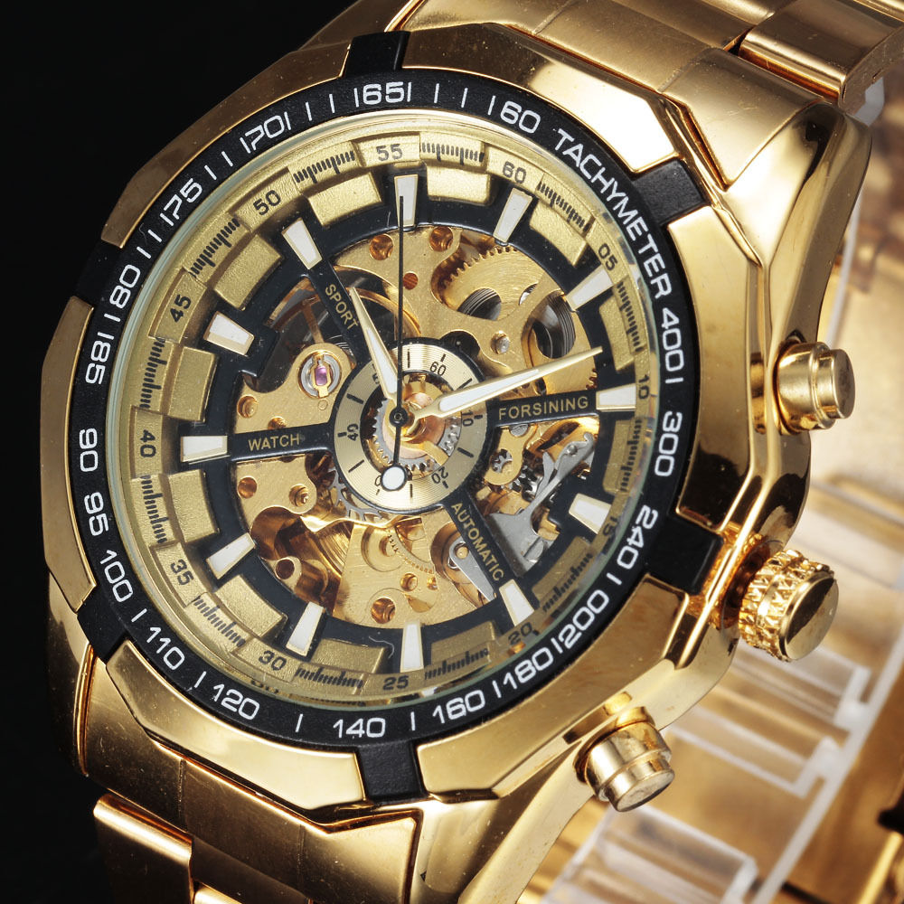 Classic WINNER Luxury Golden Automatic Men Skeleton Mechanical Full Stainess Steel Clasp Self Wind Montre Homme Wrist Watch<br><br>Aliexpress