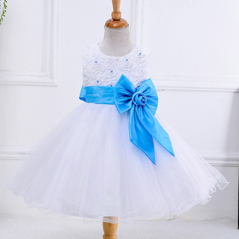 New 2016 Baby Girls Princess Dress Rose Flowers Sleeveless Wedding Bow Girl dress 2-10 Years Old Kids Summer Clothes(China (Mainland))