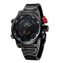 Weide genuino momento correa de acero inoxidable impermeable relojes relojes de lujo hombres de negocios de los