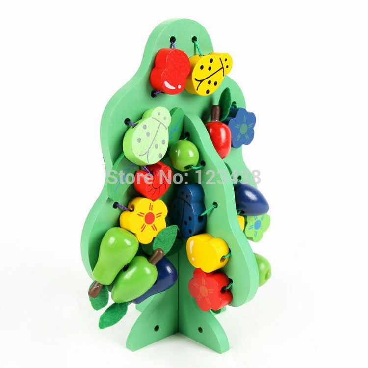 Wooden Fruit Christmas Ornament Gift Green Tree Threading Stringing Beads Building and Play Blocks Toy Baby, Tree+1*Storage Bag(China (Mainland))