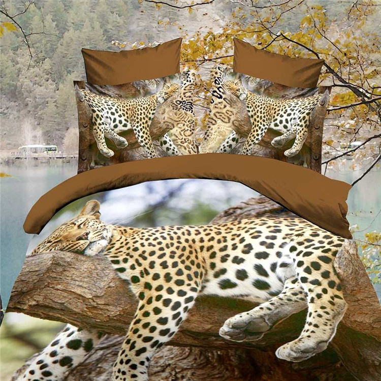 Direct New Comforter Bedding Sets 3D Bed Sheet Set Duvet Cover leopard King or Queen Size Beddings Reactive Printing Beds .(China (Mainland))