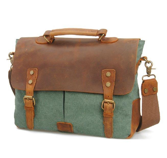 5 colors High quality genuine leather canvas retro women totes vintage men handbag briefcases MC6807(China (Mainland))