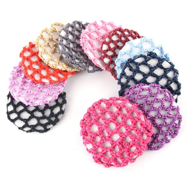Hot Bun Cover Snood Hair Net Ballet Dance Skating Chic Crochet Beautiful Colors - Showing For Yourself store