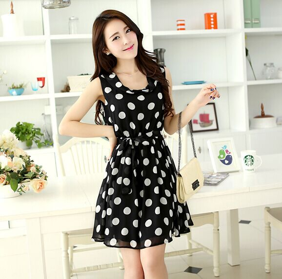2015 chiffon medium dress clothing polka dot slim spring sleeveless one-piece dress(China (Mainland))