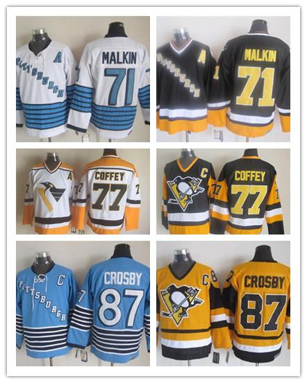 Embroidery Men's Jersey #71 Evgeni Malkin 77 Paul Coffey 87 Sidney Crosby 10 Ron Francis 19 Bryan Trottier Murphy Jerseys(China (Mainland))