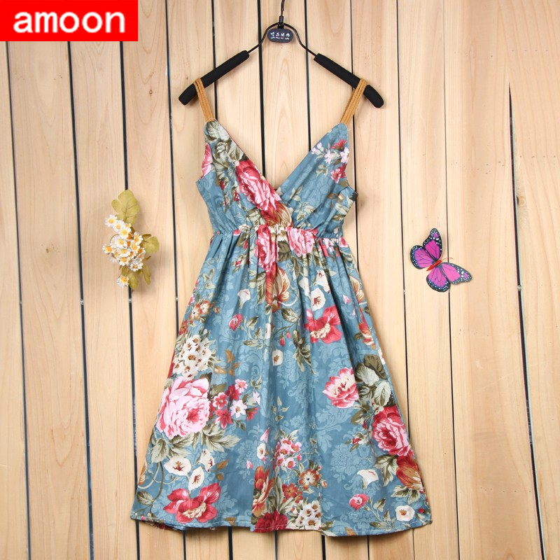 Amoon / Free Size Women Girl 2015 New Summer Style Casual Pretty Floral Flower Print V Neck Dress 11 Colors Cotton Strap - ^^ Flats and More store