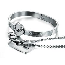 2015 Fashion Popular Men Women's Stainless Steel Heart Key + Lock Sets Lovers Couples Bracelet(China (Mainland))