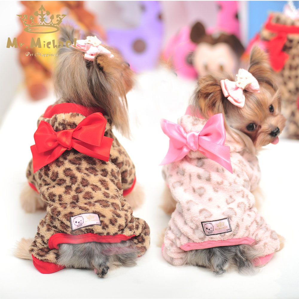 Dog Clothes Warm Leopard Print Puppy Dog Jumpsuits Bowknot Design Garment Four Legs Dog Clothing For Animals Dog Supplies PY770(China (Mainland))