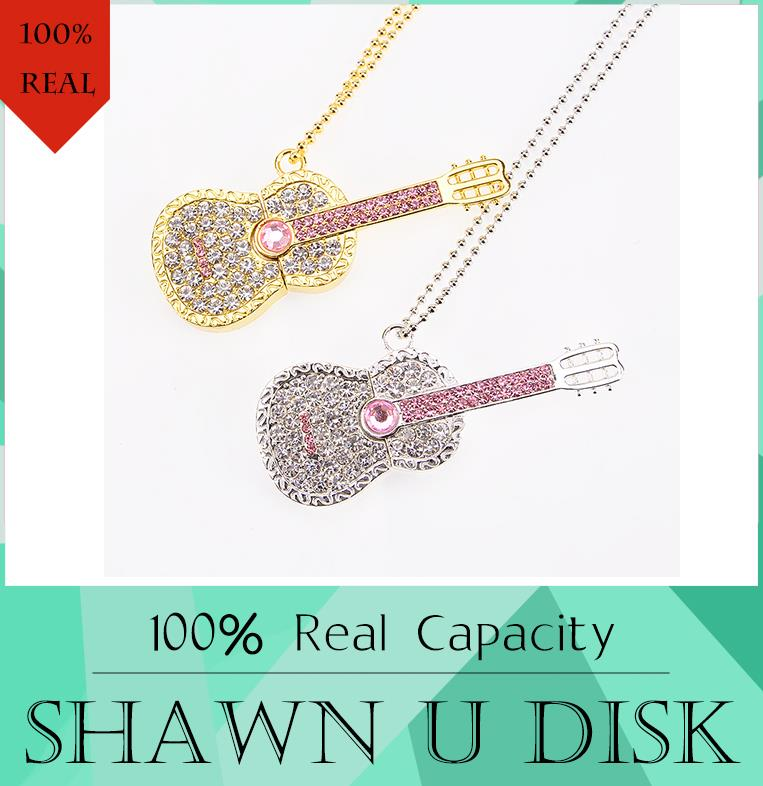 Colorful Diamond USB Flash Drive 8GB 16GB Pen Drive 32GB Pendrive U Disk Gold Silver Crystal Guitar Memory stick SWAROVSKI Gift(China (Mainland))