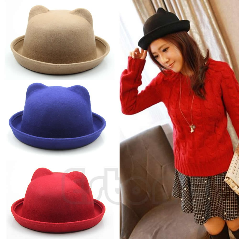 Free Shipping New Unisex Wool Parent Child Fedora Bowler Hats Derby Cat Ear Cap