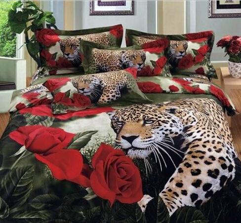 coton reine de luxe king size 3d ensemble de lit literie ensemble linge de lit animaux lion. Black Bedroom Furniture Sets. Home Design Ideas