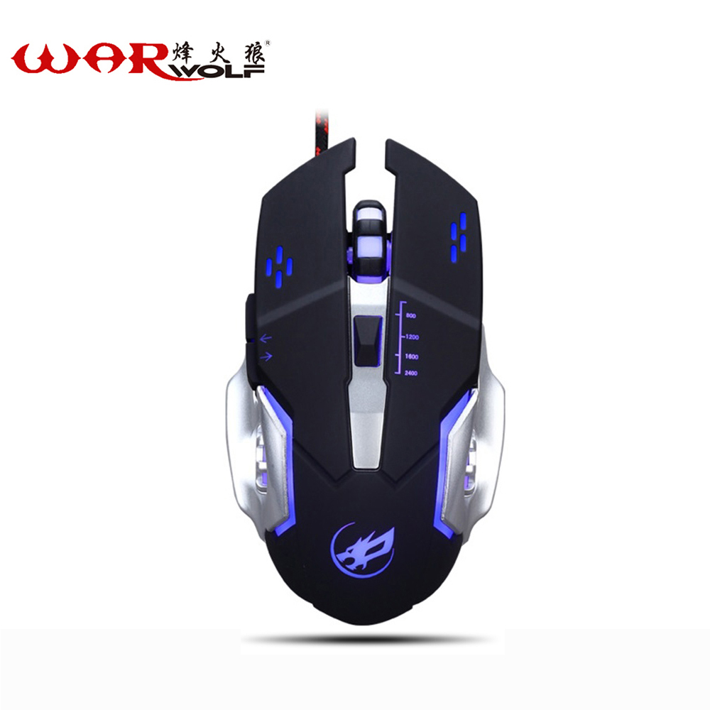 WarWolf Professional 6 Buttons Adjustable DPI Gaming Mouse USB Wired Optical Computer Game Mouse Mice for PC Laptop(China (Mainland))