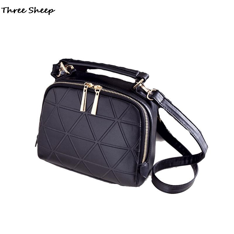 2016 Women Patent Leather Crossbody Bags Small Sling Bag Quilted Shoulder Bag Black Messenger Bags for Girls Sac a Main Femme(China (Mainland))
