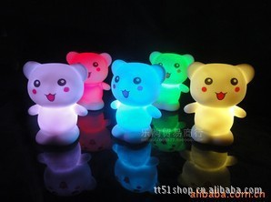 Colorful Cute Bear Nightlight luminarias home decoration baby bedroom strange new products lamp for a child's room(China (Mainland))