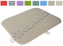 High Quality 16inch x 18inches Waffle Weave Dish Drying Mat For Kitchen Microfiber Cushion Pad XL - Cream(China (Mainland))