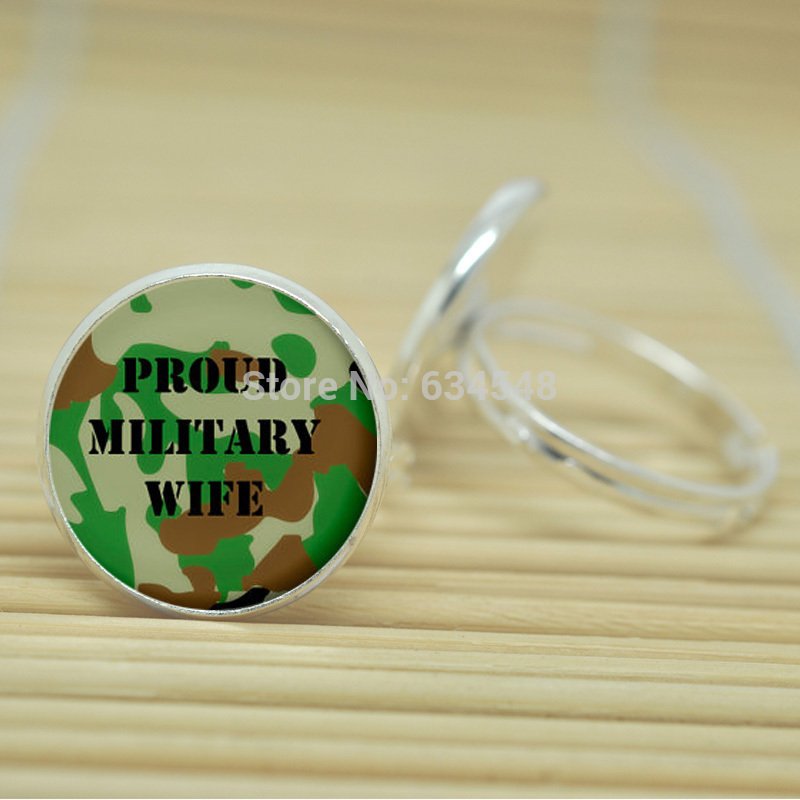 10pcs Military wife rings Army wife I love my soldier jewelry glass Cabochon Adjustable Rings D2008(China (Mainland))