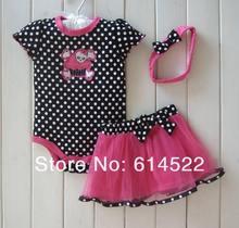 Wholesale Baby Girls Bodysuit, Fashtion skull with black Polka Dot jumpsuit, Bodysuits+skirt+hairbands 3 pc set(China (Mainland))