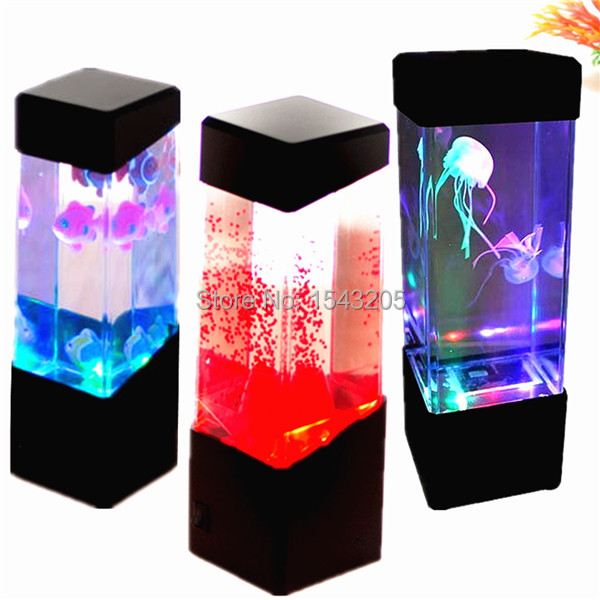 product New LED desktop RGB changing Fish Aquarium Tank Lights Relaxing clock Bedside Table Motion Night Lamp best holiday kids gift