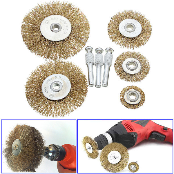 3 sets/Lot _ 5pcs Rotary Wire Wheel Brush Set With 3 Attachments For Drills Sanding Descaling(China (Mainland))