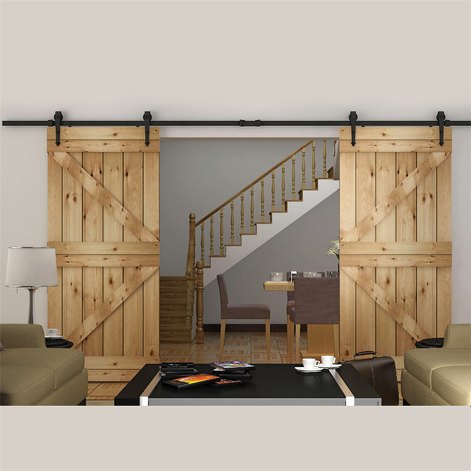 Curved track hardware barn door hardware - 7 5 To 16 Ft European Style Steel Top Mounted Double Head Twin Roller Sliding Barn Wood Door Hardware Barn Door Sliding Track