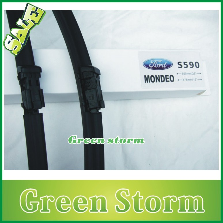 (2pcs/Pair) car wiper blades Ford Mondeo soft silicone Rubber WindShield Wiper Blade Arm - Green Storm Automobile Products co., LTD store