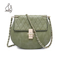 Lady Women Saddle Pu Shoulder Leather Bags Handbags Purse Flap Quilted Chain Bag Crossbody Zip Lock