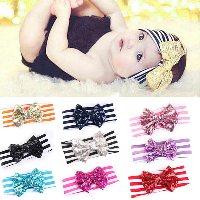 Retail Big sequin Bow with Stripe Headbands Baby Headband kids Turban Head wrap for Girl Big Bow Top Knot Headband(China (Mainland))