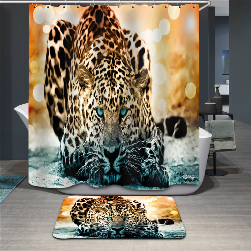 Polyester Shower Curtain 3D Animal print Jungle Tiger Modern Design Waterproof Fabric Curtains For Bathroom products custom made(China (Mainland))